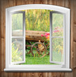 canvas print picture - Fenster mit Gartenblick