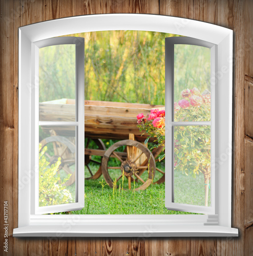 canvas print picture Fenster mit Gartenblick