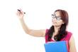 Female student writes on copyspace