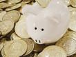 Rich Piggy Bank With Gold Coin Money