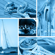 Yacht and silboat concept  - blue toned