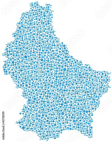 Map of Luxembourg - Europe -  in a mosaic of  blue circles