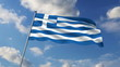 Greece flag waving against clouds background