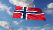 Norwegian flag waving against  clouds background