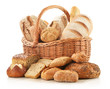 Bread And Rolls In Wicker Bask...