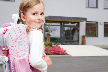 Back to school -  outdoor portrait of lovely  schoolgirl