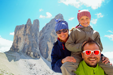 Family on  trek, Tre Cime di Lavaredo  - Dolomite - Italy