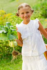 Vegetable garden - lovely girl with  kohlrabi in the garden