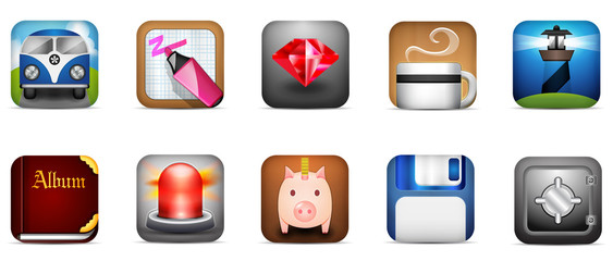 Mobile Icon set of diverse concept