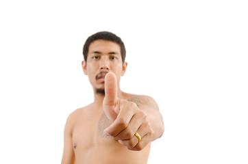 Businessman show OK hand sign isolated.