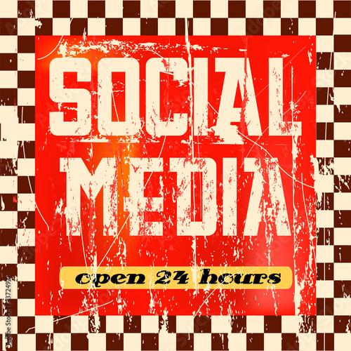vintage social media sign