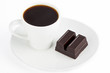 black coffee and chocolate bar