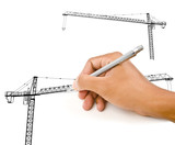 Hand drawing Crane line for Construction concept.