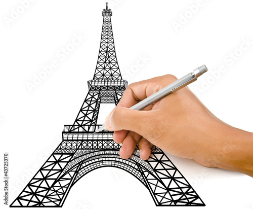 Hand drawing Eiffel Tower line  in Paris for construction.