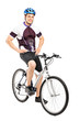 Full length portrait of a smiling bicyclist posing on a bicycle