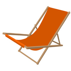 Orange beach chair, vector illustration