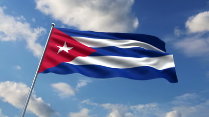 Cuban flag waving against clouds background