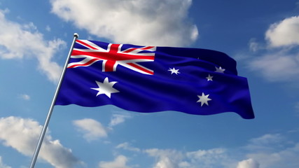 Australian flag waving against clouds background