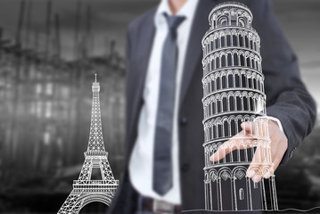 Businessman pushing Pisa Tower line  in Italy for construction.