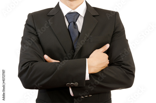 Businessman with Crossed Hands Isolated.