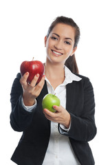 Asian Businesswoman with red and green apple