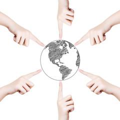Concept  Hand point world globe line.
