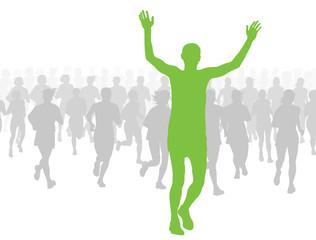 Marathon runners vector background