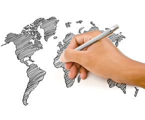 Hand Drawing World Map Globe line on the whiteboard.