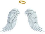 angel design elements - wings and golden halo isolated poster