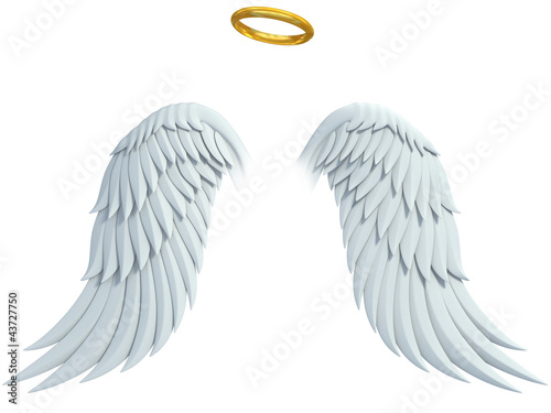 angel design elements - wings and golden halo isolated