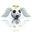 funny football 3d concept - angel soccer ball