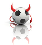 funny football 3d concept - devil soccer ball