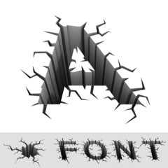 cracked font letter A