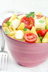 Pasta salad with mozzarella and cherry tomatoes