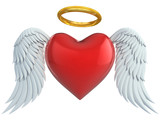 angel heart with wings and golden halo 3d illustration poster