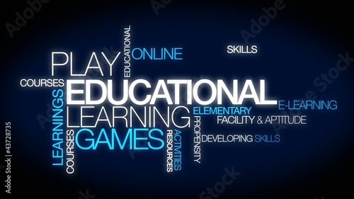Educational learning games word tag cloud video