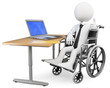 3D businessman white people. Handicapped office worker