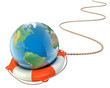 save the earth 3d concept - globe with lifebuoy isolated