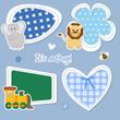 baby stickers - leone, elefante, trenino, cuore