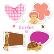 baby stickers - orsetta, giraffa, tartaruga, cuore