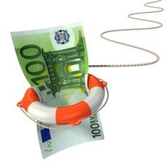 lifebuoy saving euro 3d concept - euro crisis