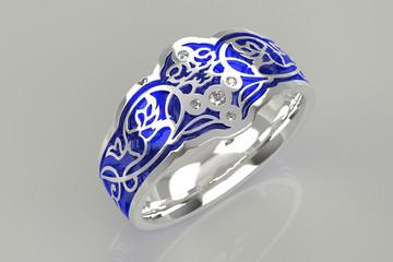 Кольцо с голубой эмалью и камнями