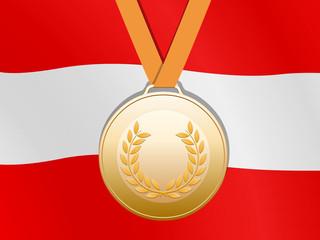 Bronzene medaille mit österreichische Fahne