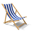 canvas print picture - Deck-chair with blue and white stripe pattern