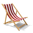 canvas print picture - Deck-chair with red and white stripe pattern