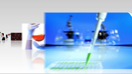 Montage 3D fly through inside  technical laboratory