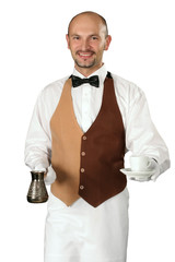 Waiter  with percolator and cup of coffe.