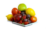 A plate of fresh fruit  pictures isolated in white