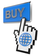 Buy button and hand cursor with icon of the globe.