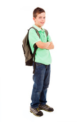 Full body portrait of a school boy with backpack, isolated on wh
